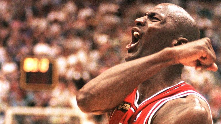 Michael Jordan celebrates the Chicago Bulls# victory in the 1998 NBA Finals
