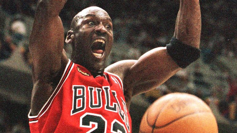 Michael Jordan throws down a dunk in Game 2 of the 1998 NBA Finals