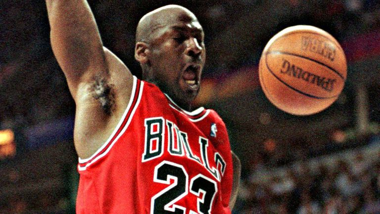 Michael Jordan rams home a dunk for the Chicago Bulls against the Cleveland Cavaliers