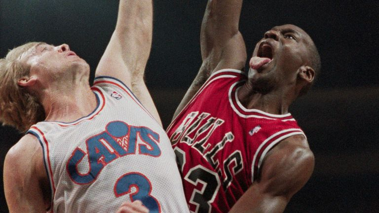 Michael Jordan rises to dunk against the Cleveland Cavaliers