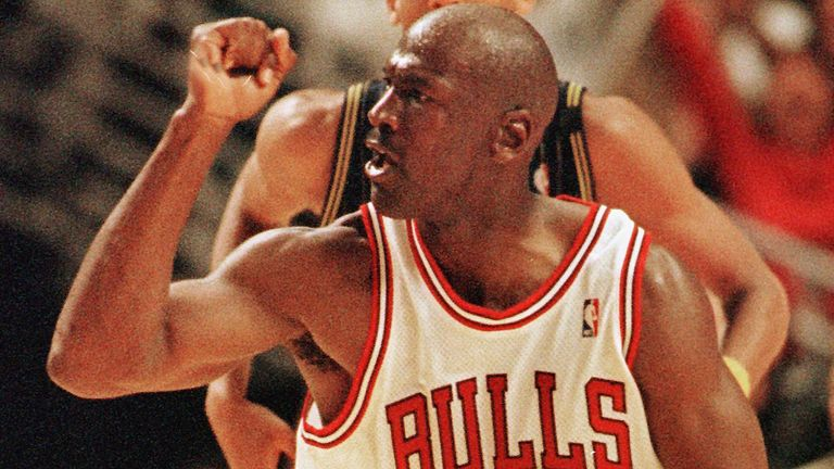 Michael Jordan celebrates a basket during the Chicago Bulls'  1997-8 season
