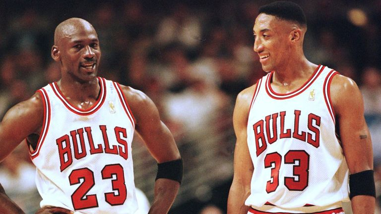 Michael Jordan  and Scottie Pippen in action for the Chicago Bulls during the 1998 Eastern Conference Finals
