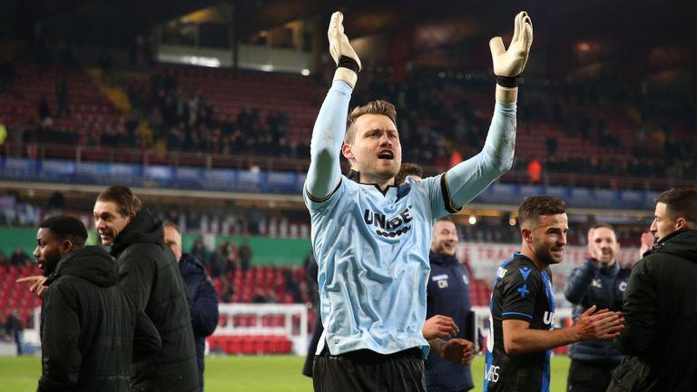 Simon Mignolet of Club Brugge celebrates
