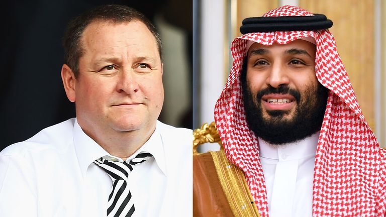 Newcastle United owner Mike Ashley and Saudi Arabia's Crown Prince, Mohammed bin Salman
