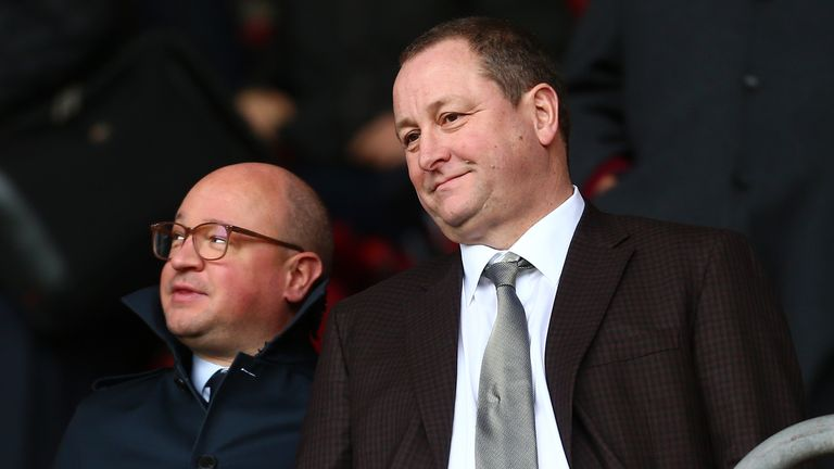 Mike Ashley pictured with Newcastle managing director Lee Charnley at St Mary's Stadium in 2018