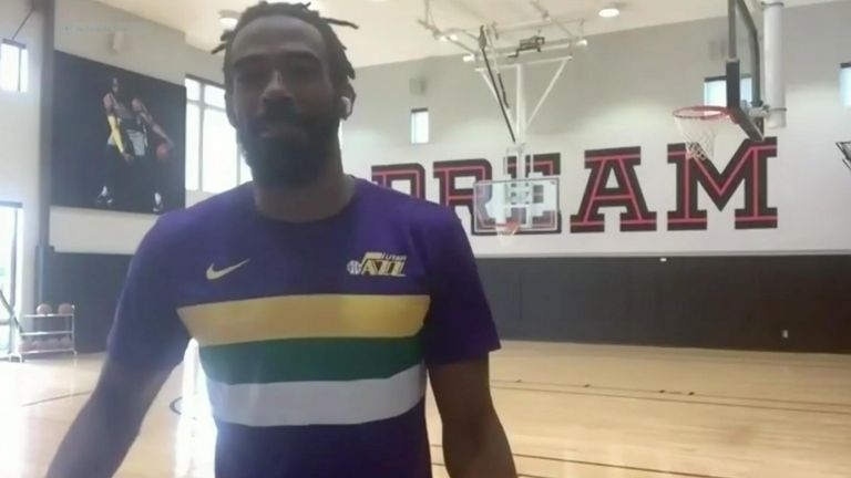 Mike Conley in action in his home gym during the final of the NBA HORSE challenge