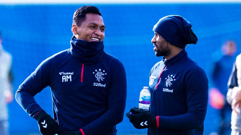 Alfredo Morelos (L) and Jermain Defoe during a Rangers training session