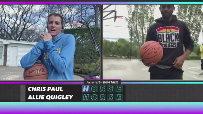 Allie Quigley and Chris Paul face off in the NBA HORSE shooting challenge