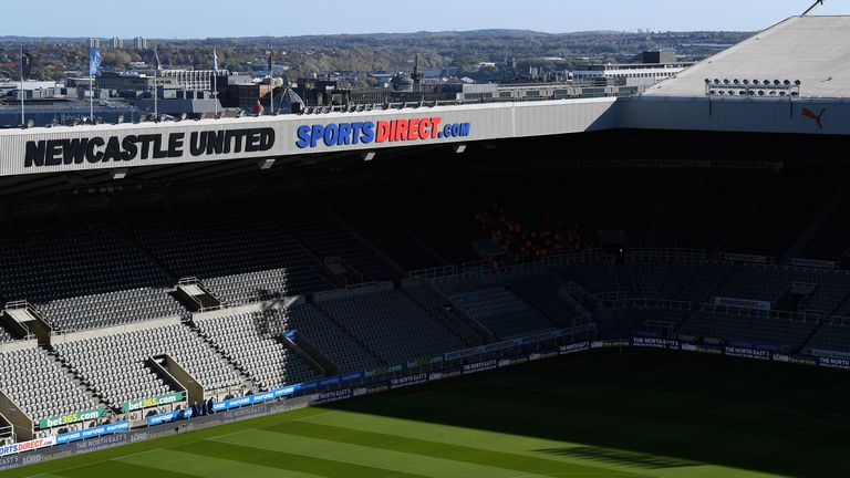A view of St. James' Park, taken prior to Newcastle United vs Wolverhampton Wanderers