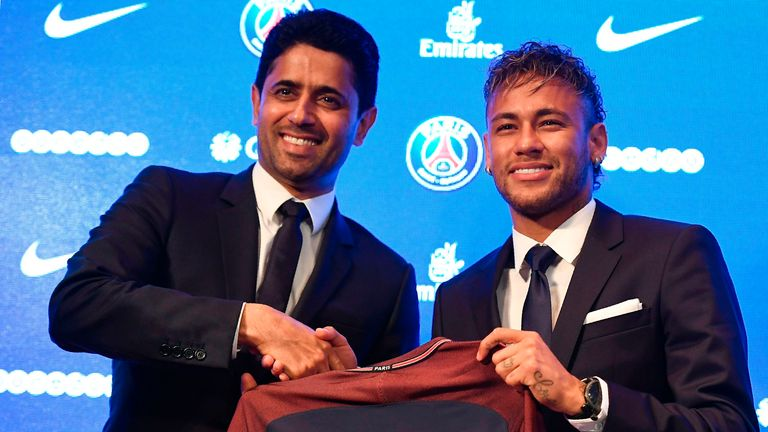 Neymar joined PSG in a world-record £198m (€222m) deal in 2017