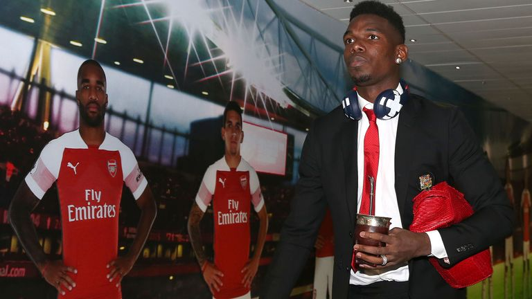 Paul Pogba of Manchester United arrives ahead of the FA Cup Fourth Round match between Arsenal and Manchester United at Emirates Stadium on January 25, 2019 in London, United Kingdom.