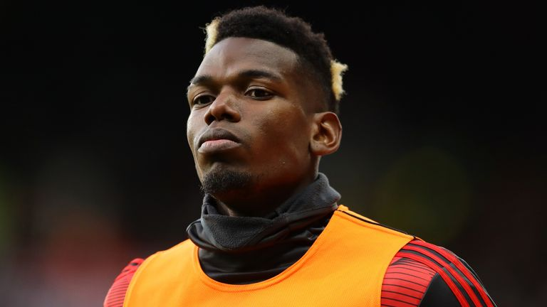 Paul Pogba of Manchester United warms up during the Premier League match between Watford FC and Manchester United at Vicarage Road on December 22, 2019 in Watford, United Kingdom