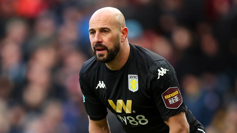 Pepe Reina in action for Aston Villa