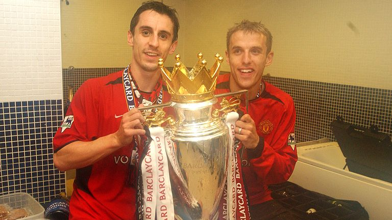 Gary and Phil Neville won a whole host of trophies together at Manchester United