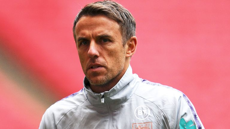 Phil Neville during an England Women's training session