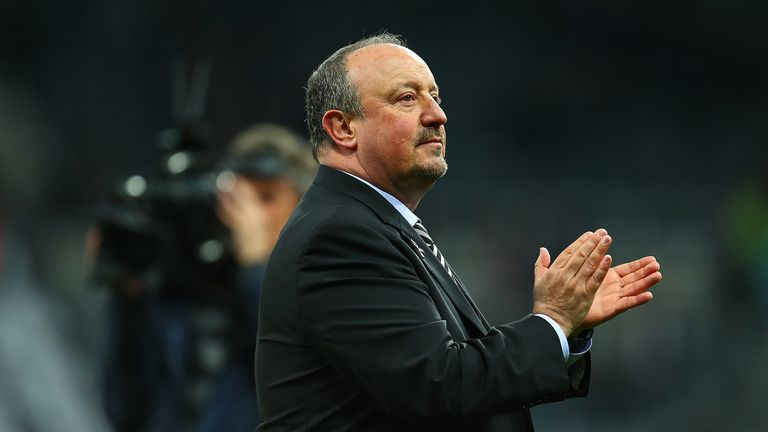 Rafael Benitez the head coach / manager of Newcastle United applauds the fans at full time during the Premier League match between Newcastle United and Liverpool FC at St. James Park on May 4, 2019 in Newcastle upon Tyne, United Kingdom