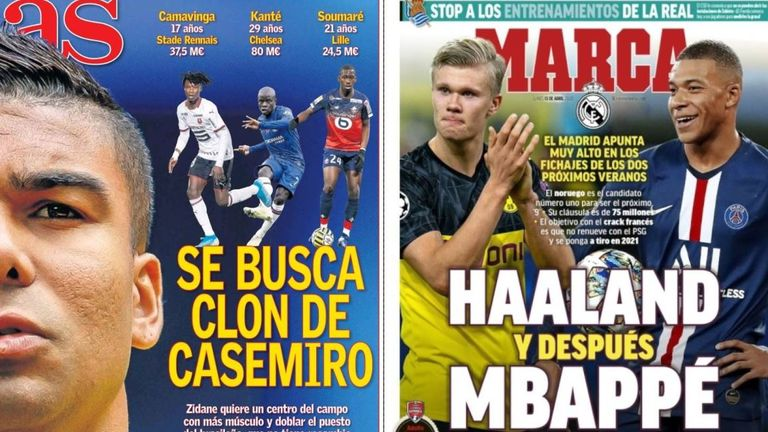 Spanish paper AS claimed this week that Real Madrid are seeking a Casemiro 'clone' while Erling Haaland and Kylian Mbappe remain on the club's radar, report Marca