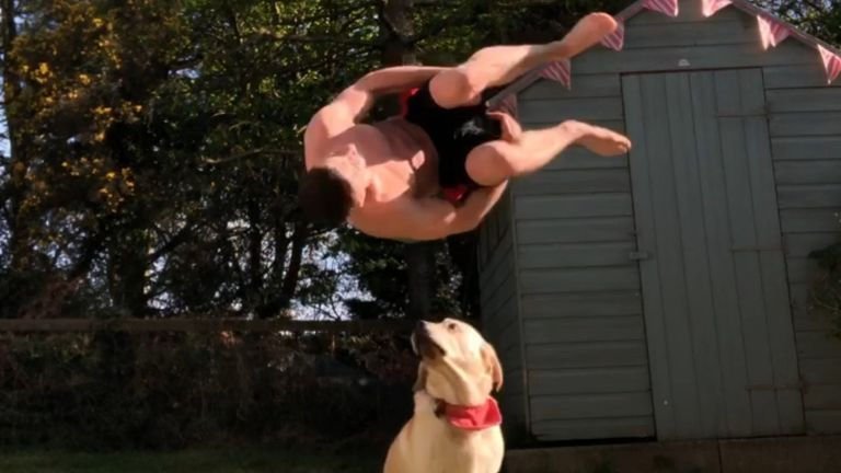 McClenaghan's dog Finn even gets involved in his training sessions