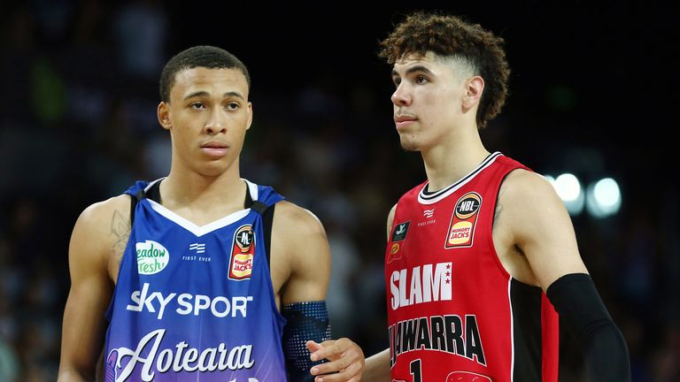 NBA Draft prospects RJ Hampton and LaMelo Ball in action during an NBL clash between the New Zealand Breakers and Illawarra Hawks