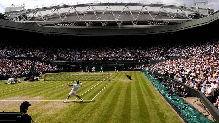 General view inside Centre Court in the Men's Singles final between Roger Federer of Switzerland and Novak Djokovic of Serbia during Day thirteen of The Championships - Wimbledon 2019 at All England Lawn Tennis and Croquet Club on July 14, 2019 in London, England.