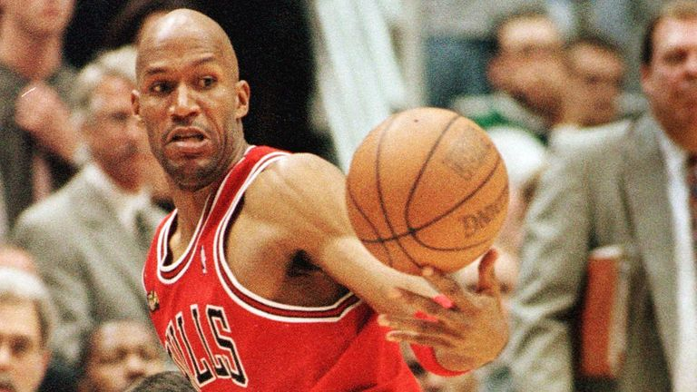 Ron Harper steals possession for the Chicago Bulls in Game 2 of the 1998 NBA Finals