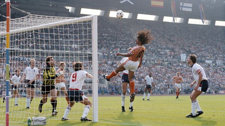 Ruud Gullit heads at goal for Netherlands during the 1988 European Championships game against England