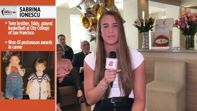 Sabrina Ionescu reacts after being selected first in the WNBA Draft by the New York Liberty