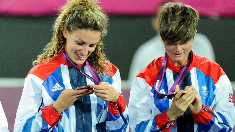Walton and team-mate Ashleigh Ball inspect their Olympic medals after winning bronze at London 2012