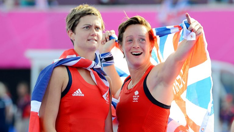 Walton and Hannah Macleod celebrate Britain's 3-1 victory over New Zealand which secured third place at their home Games