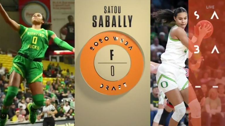 Satou Sabally reacts after being selected by the Dallas Wings with the No 2 pick in the 2020 WNBA Draft