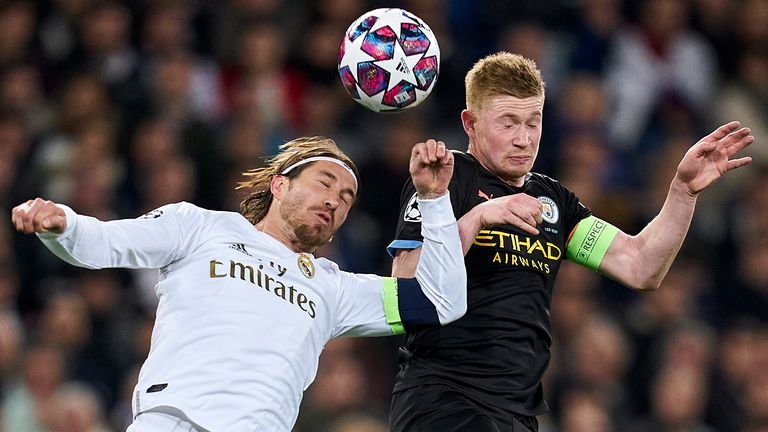 Sergio Ramos and Kevin De Bruyne in action during the Champions League round of 16, first leg at Santiago Bernabeu in February