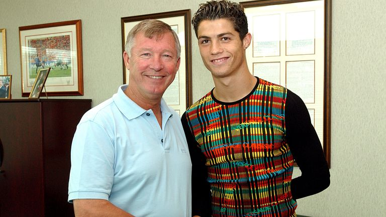 Sir Alex Ferguson greets Cristiano Ronaldo at Carrington.               .Cristiano Ronaldo Signing, Carrington Training Ground, Carrington, Manchester, 12/08/2003..