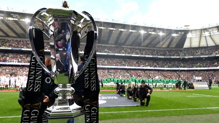 The trophy is seen prior to the 2020 Guinness Six Nations match between England and Ireland at Twickenham Stadium on February 23, 2020 in London, England.