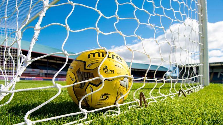 13/08/16 LADBROKES PREMIERSHIP.DUNDEE v RANGERS.DENS PARK - DUNDEE.A ball sits in the net at Dens Park