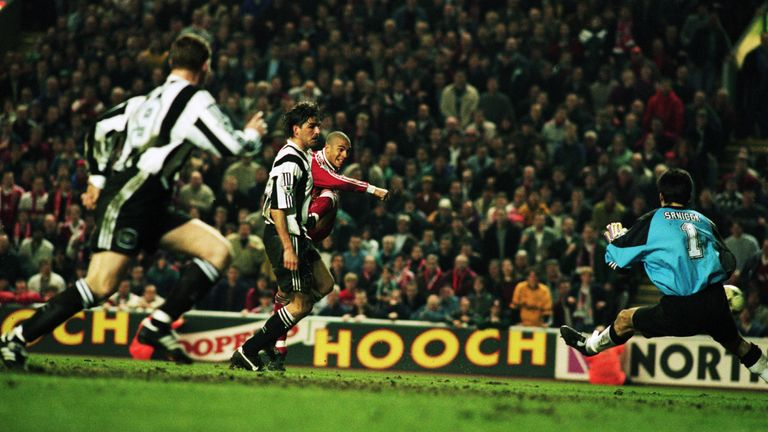 Stan Collymore scores the winner at Anfield