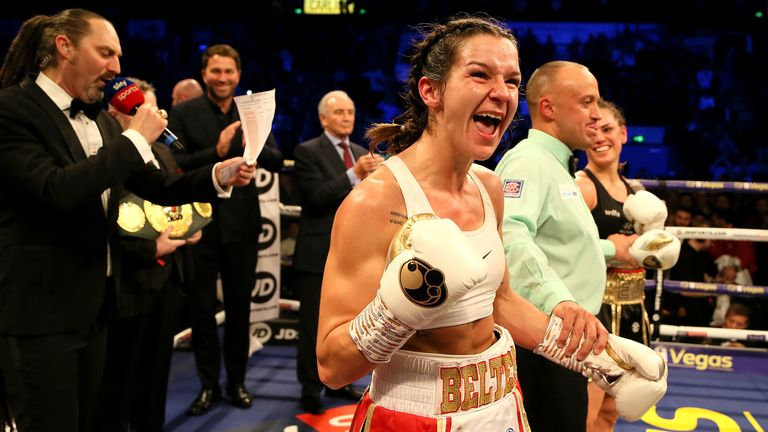 Terri Harper celebrates victory over Eva Wahlstrom in the WBC & IBO Super-featherweight World Championship fight at the FlyDSA Arena, Sheffield. PA Photo. Picture date: Saturday February 8, 2020. See PA story BOXING Sheffield. Photo credit should read: Richard Sellers/PA Wire