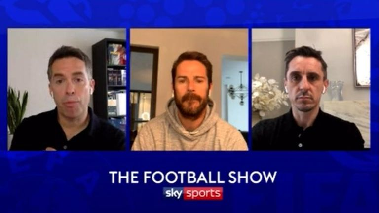 Jamie Redknapp and Gary Neville joined David Jones on The Football Show - watch weekdays from 9-11am on Sky Sports News #SkyFootballShow