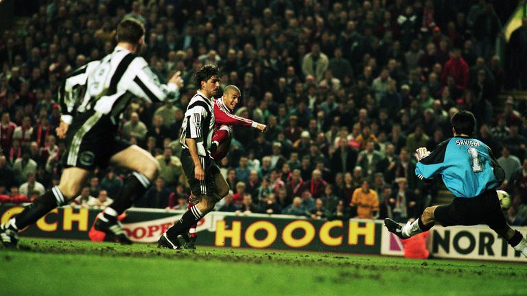 Stan Collymore scores against Newcastle in April 1996