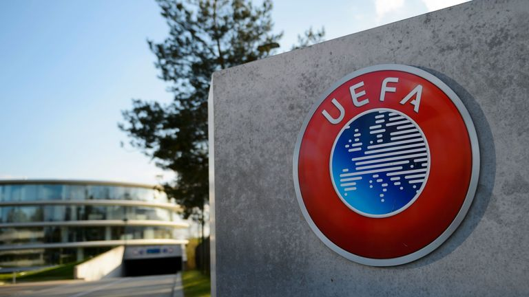 A view outside UEFA headquarters in Nyon, Switzerland