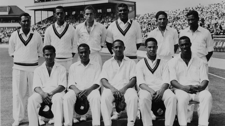 West Indies Test team, June 1963. Back row, l-r: Joe Solomon, Lance Gibbs, Joey Carew, Charlie Griffith, Deryck Murray and Basil Butcher. Front row, l-r: Rohan Kanhai, Conrad Hunte (1932-1999), Frank Worrell (1924-1967), Garfield Sobers, and Wes Hall