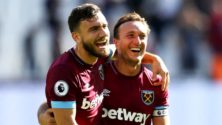 during the Premier League match between West Ham United and Manchester United at London Stadium on September 29, 2018 in London, United Kingdom.
