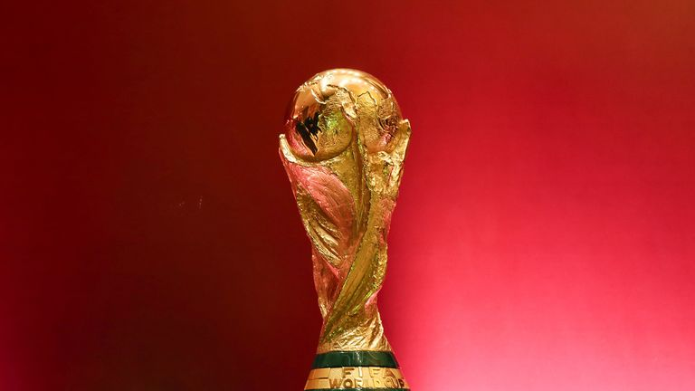 The world cup trophy, designed by Italian sculptor Silvio Gazzaniga, is pictured during the CAF draw, for the second round of Confederation of African Football (CAF) matches for 2022 FIFA World Cup qualification, in the Egyptian capital Cairo on January 21, 2020.