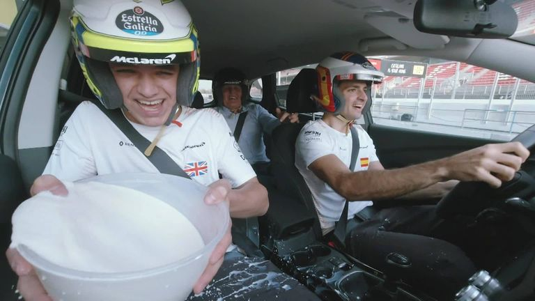 Ahead of pre-season testing in Barcelona, McLaren pair Carlos Sainz and Lando Norris undertake a driving challenge, whilst trying not to spill six pints of milk.