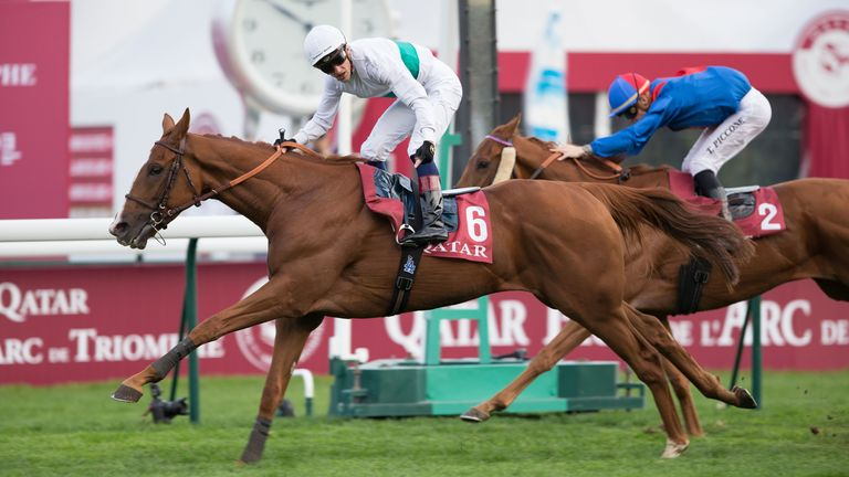 PARIS, FRANCE - OCTOBER 6 : Jockey Aurelien Lemaitre riding Call The Wind wins the Race 7 Qatar Prix du Cadran (Group 1) at ParisLongchamp racecourse on October 6, 2018 in Paris, France. (Photo by Lo Chun Kit /Getty Images)