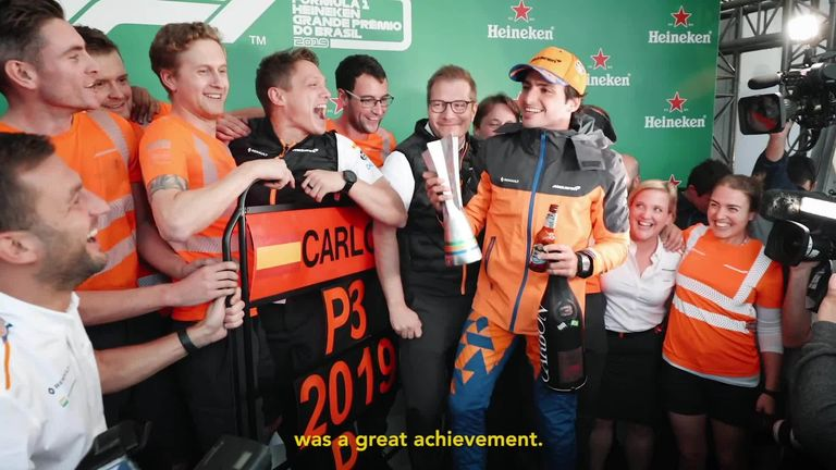 Watch a video from Carlos Sainz to McLaren as he thanks the team for his successful time with them so far ahead of his move to Ferrari in 2021.