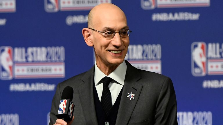 NBA commissioner Adam Silver addresses the media at the 2020 All-Star Weekend in Chicago