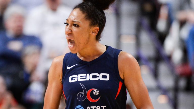 Aerial Powers celebrates a play during the 2019 WNBA Finals