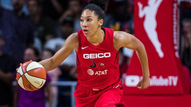 Aerial Powers dribbles upcourt during the 2019 WNBA Finals