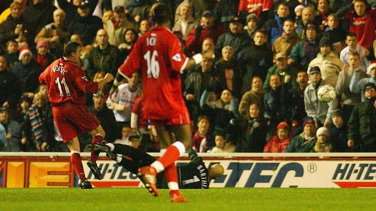 Alen Boksic of Middlesbrough scores the opening goal against Manchester United