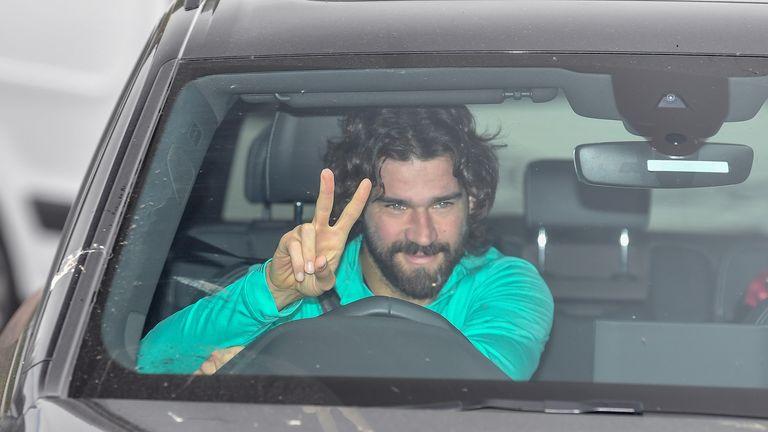 Alisson arrives at Melwood